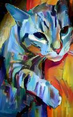 Short Screenplay based on the painting Flaming Orange Blue Kitty by the artist MendyZ